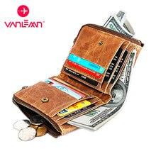 100% натуральная кожа rfid кошелек для мужчин Винтажный чехол