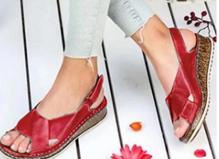 YEELOCA 2020 Female Shoes Woman Peep-toe Wedge Comfortable Sandals Slip-on Flat Sandals VR005