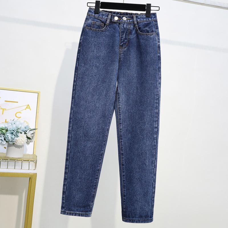XL-5XL Spring Plus Size Women Blue Jeans Casual Elastic Wiast Harem Jean Trousers Ankle-Length Female Large Size 4XL Denim Pants