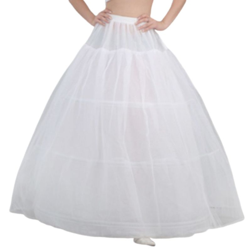 Free Shipping Bride Bridal Wedding Dress Support Petticoat 3 Hoops 1-layer Yarn Skirt Women Costume Skirts Lining Liner