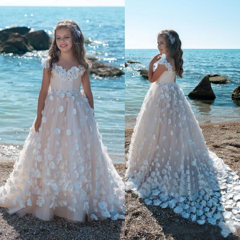 A Line Scoop Ivory Flower Girl Dresses Floor Length Flower Belt Girl Dresses For Wedding Pageant Dresses First Communion Dresses