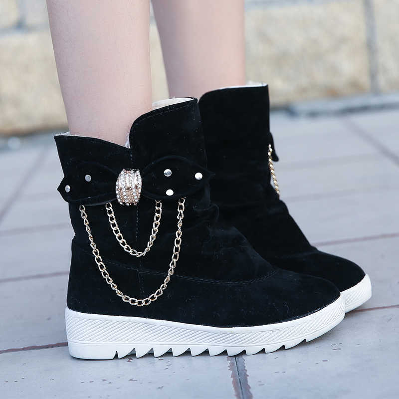 Puimentiua botas de invierno de piel caliente botas de mujer de moda zapatos de plataforma de encaje botas de nieve impermeables zapatos de mujer