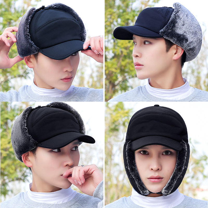 Benycs Mens Sports Caps,Outdoor Cycling Cold-Proof Ear Warm Cap Thickened Ear Warmer Winter Hat for Men Deliver in 8-15 Days