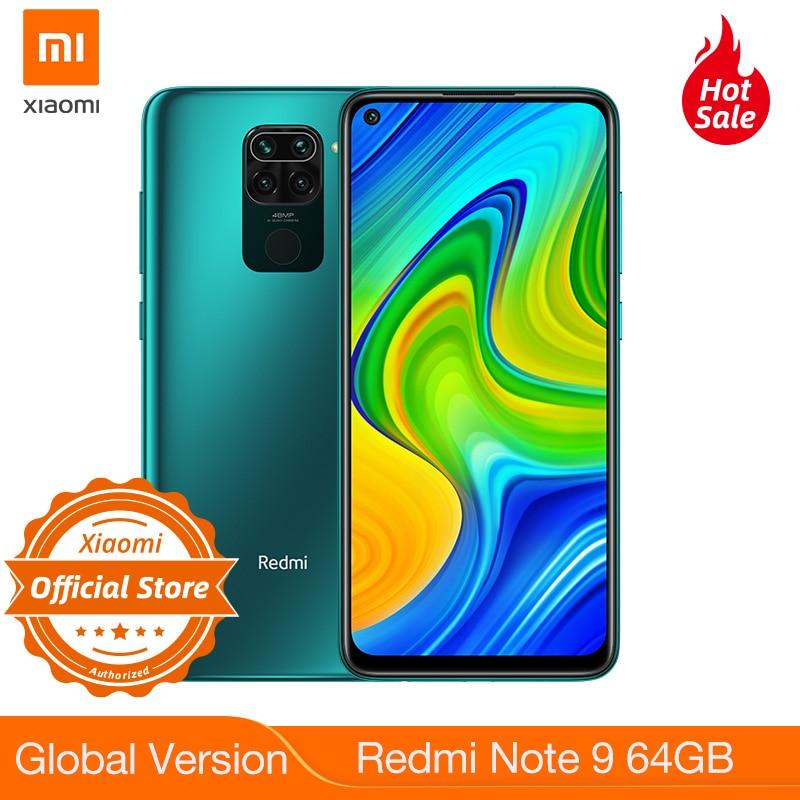 Nova versão global redmi nota 9 64 gb 3 gb ram smartphone helio g85 5020 mah bateria 18 w carregamento rápido 6.53