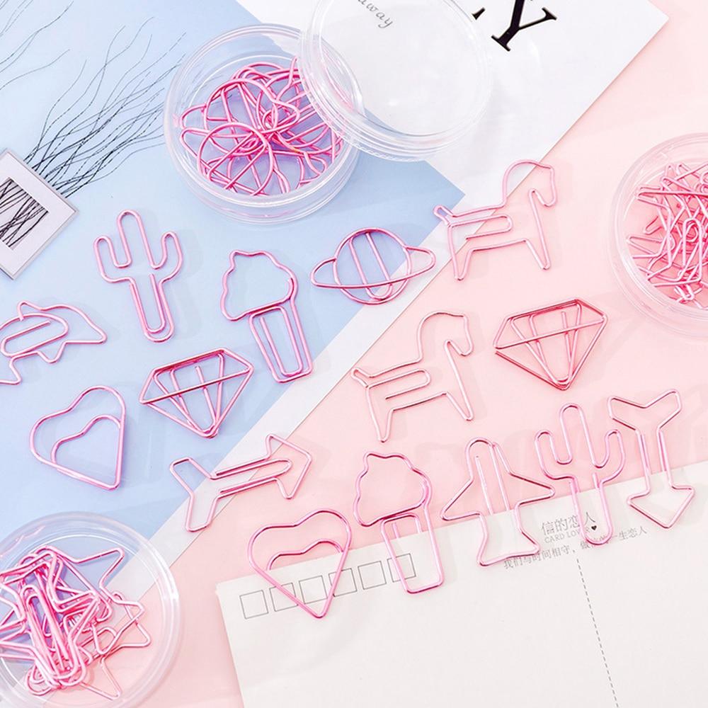 8 шт./лот, мини-скрепки с розовым сердцем для девочек, милые канцелярские принадлежности, металлические прозрачные скрепки для фотографий