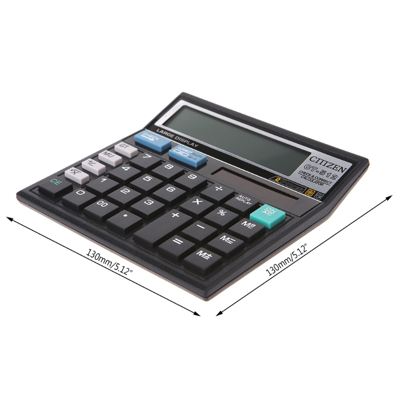 12-разрядный Дисплей научный калькулятор солнечный Батарея двойной Мощность большой Дисплей офисный Настольный калькулятор