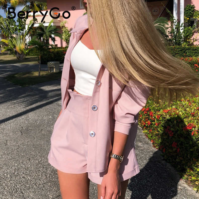 Berry Go Casual buttons two-piece suits women set High waist pockets female short jumpsuit 2020 Summer style ladies sets outfit