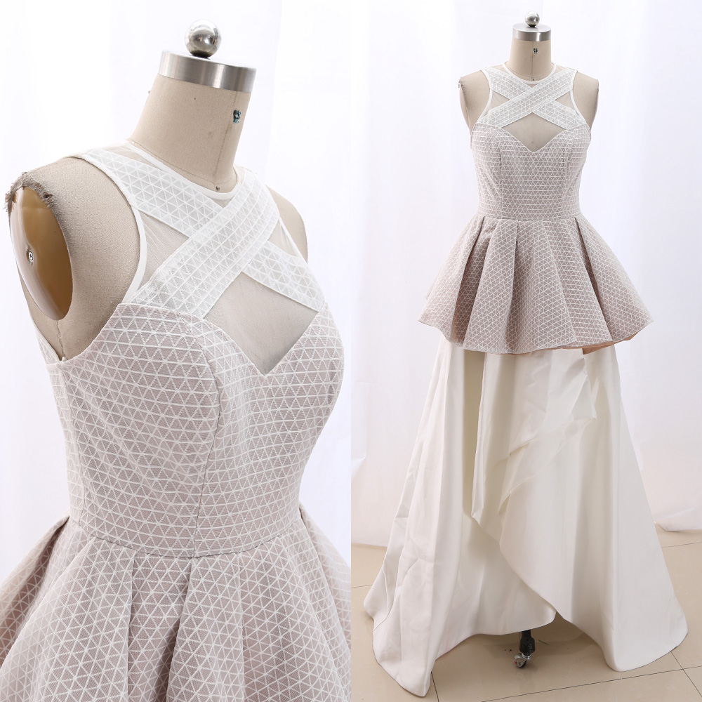 MACloth White Sheath O Neck Floor-Length Long Embroidery Tulle   Prom     Dresses     Dress   M 267075 Clearance