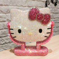 Handmade Bling Rhinestone KT Standing Mirror Pink Helloo Kitty Room Decor Mirror Personalized Mirror Home Decoration Accessories