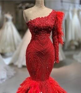 Image 2 - יוקרה ריינסטון נוצת בת ים שמלות כלה 2020 תמונה אמיתית חרוזים יוקרה תחרה כלה שמלות אחת כתף Robe דה Mariee