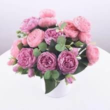 1 pacote de seda peônia buquê decoração para casa acessórios festa de casamento scrapbook plantas falsas diy pompons rosas artificiais flores