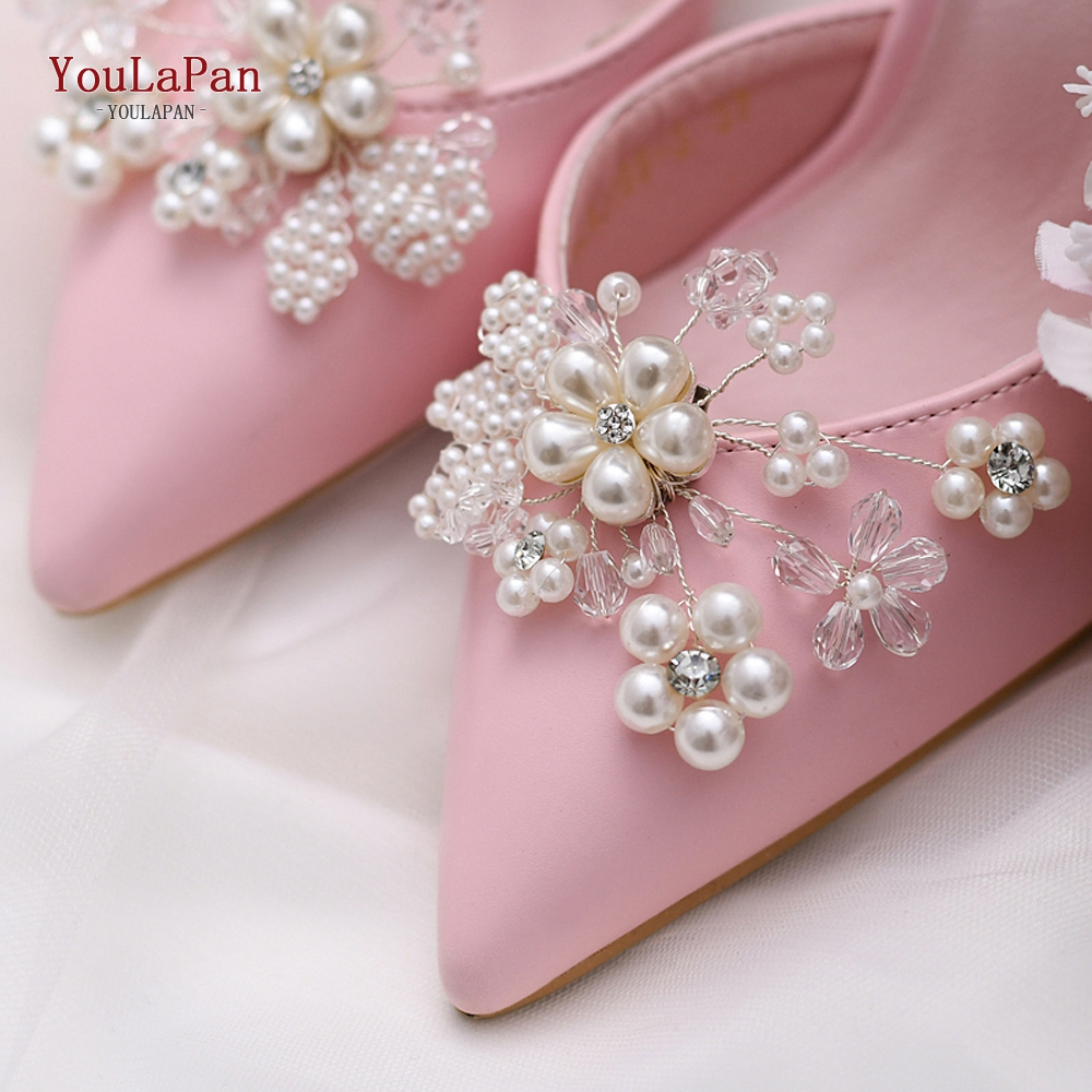 YouLaPan 1 Pair Rhinestone Pearl Shoe Clips Crystal Charm Flower Decorative Shoe Clips Fashion Wedding Shoes Accessories X14