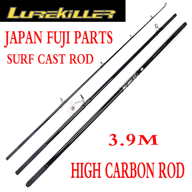 Lurekiller surf fishing rod Fuji ring reel seat 3.90M Powerful Carbon Surfcasting Rod 30kgs offshore