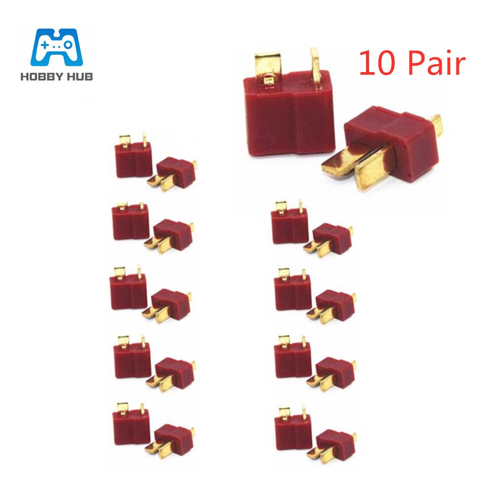 10 Pairs T Plug Male & Female For RC LiPo Battery Deans Connectors Style For Lipo Battery