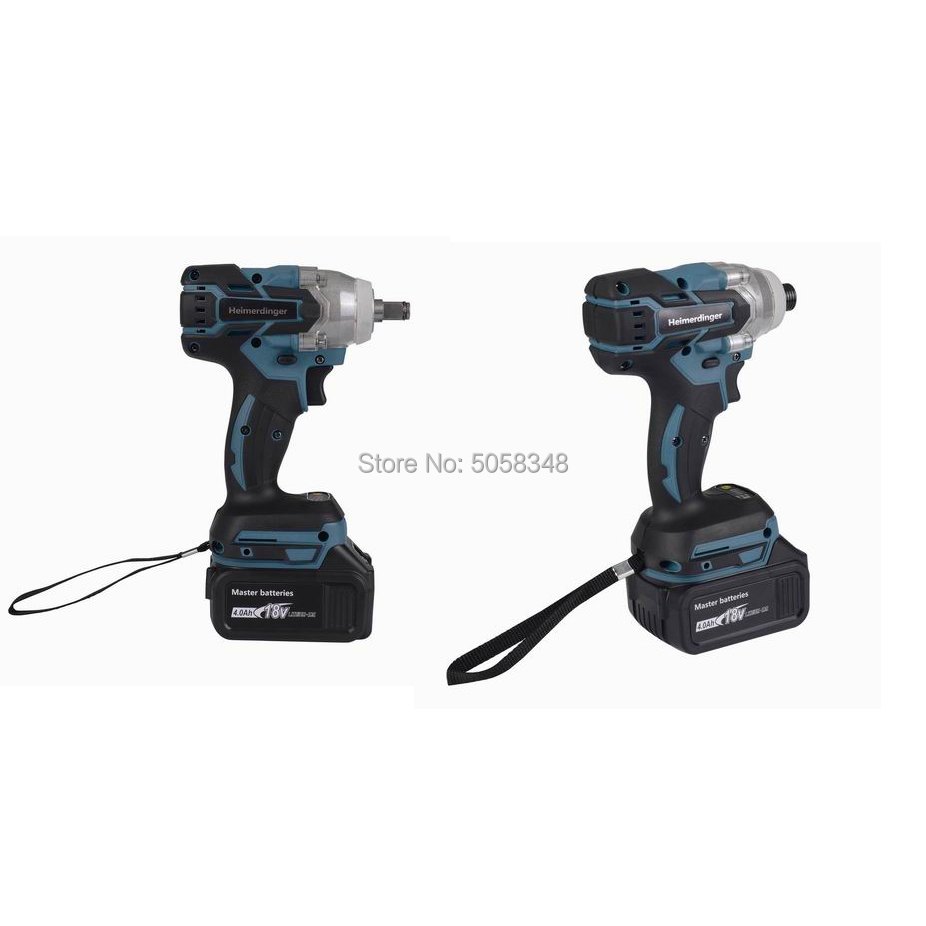 home improvement : Electric Rechargeable Brushless Impact Wrench Cordless and brushless Impact driver drill combo with four 18V 4 0Ah Battery