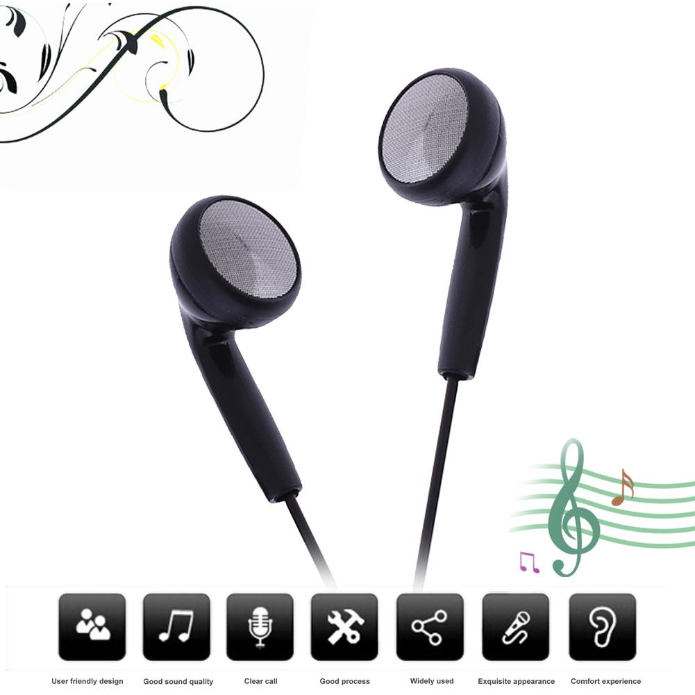 Black Universal earphone 3.5mm Wired Stereo Headphone Headset Earpiece With Mic For Phones