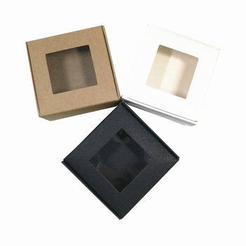 White/Brown/Black 8.5x8.5x3.5cm Kraft Paper Pack Box with Square Plastic Window for Crafts Biscuits Gifts Packaging Foldable Box