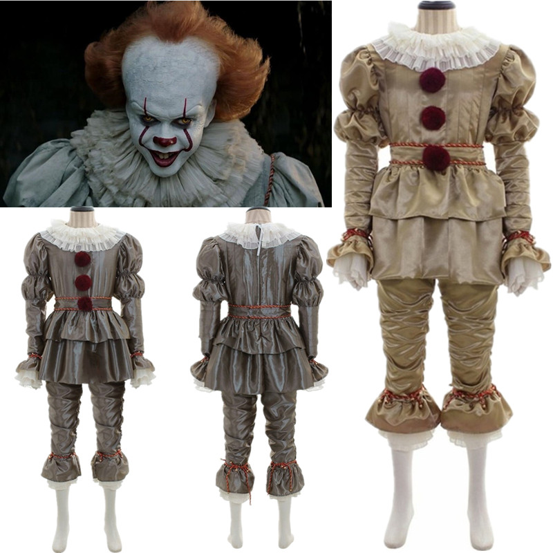 New Movie Stephen King's It Chapter Two Clown  Cosplay Costume 2pcs Suits Clown Halloween Costumes Gloves Mask Adult Kids