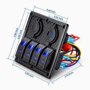Image 2 - 4 Gang 12V Dual USB Port Car Marine Boat LED Rocker Switch Panel Waterproof Circuit Digital Voltmeter LED Rocker Switch Panel