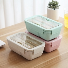 Sale 3pcs Food Box Set Microwave Bento Box Fork Spoon Portable Compartment Lunch Box for Kids Wheat Straw Fruit Food Container