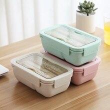Sale 3pcs yiyecek kutusu seti mikrodalga Bento kutusu çatal kaşık taşınabilir bölmeli yemek kutusu çocuklar için buğday samanı meyve gıda kabı