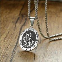 Clássico estilo religioso metal saint christopher pingente colar oração cristã amuleto jóias