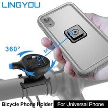 LINGYOU אופניים אופנוע טלפון מחזיק אופני אלומיניום הר עבור אוניברסלי 3.5 6.2 אינץ חכם טלפון תמיכת GPS הר Bracket
