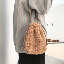 MABULA Korean Style Lamb Hair Crossbody Bags For Women Winter Mini Shoulder Bag Cell Phone Drawstring Bucket Bags Purses
