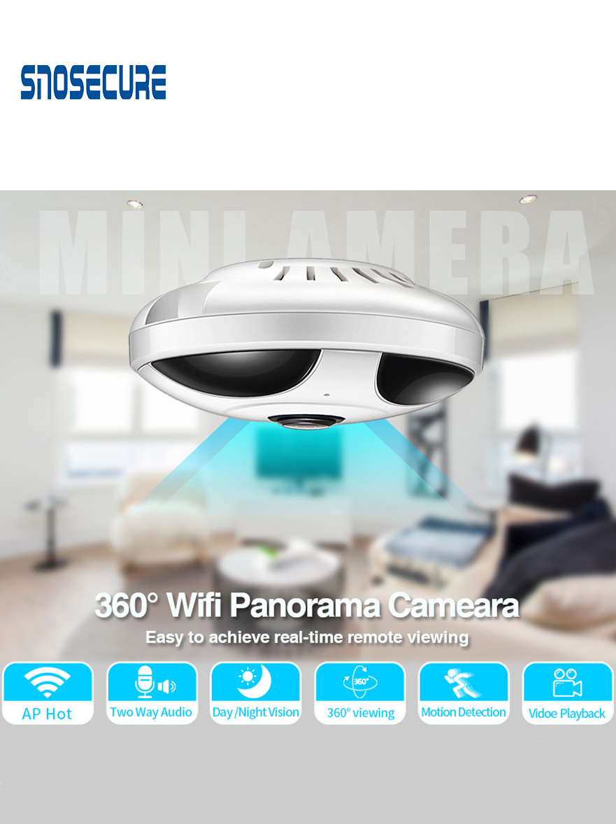 SNOSECURE 360 Degree Two Way Audio Panoramic 1.3MP FIsheye Wireless Smart IP Camera Home Security