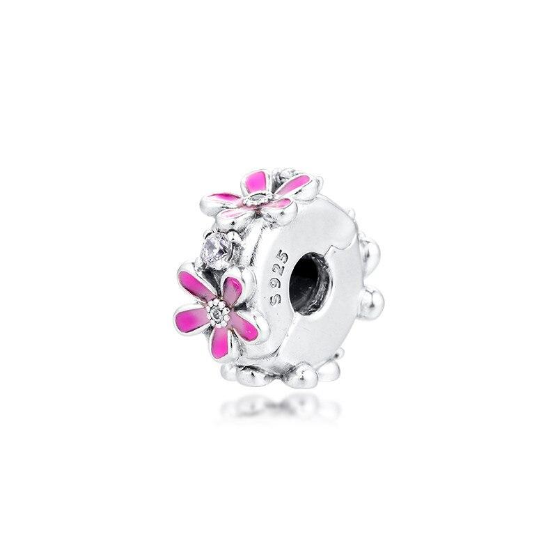 Rosa margarida flor clipe contas para fazer jóias primavera diy ajuste charme pulseira femme 925 prata esterlina 2020 moda jóias