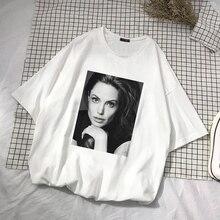 Vintage Angelina Jolie hermosa Retro impresión divertida camiseta de las mujeres nuevo verano Casual moda Harajuku señoras suelta o-cuello Top camisetas
