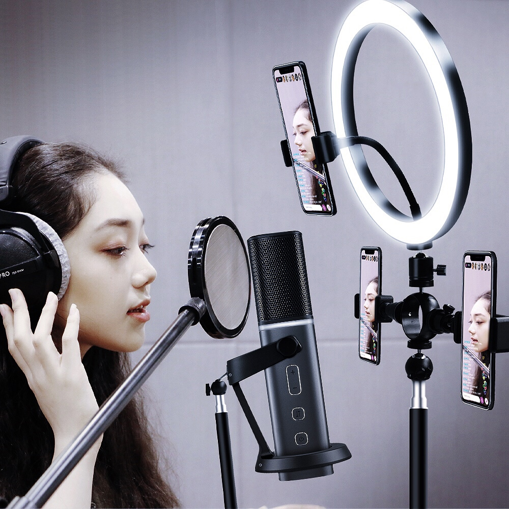 Selfie LED Ring Light with Tripod Stand 3 Phone Holders for Photography Camera Video Recording Makeup Live Stream Lighting Lamp in Photographic Lighting from Consumer Electronics