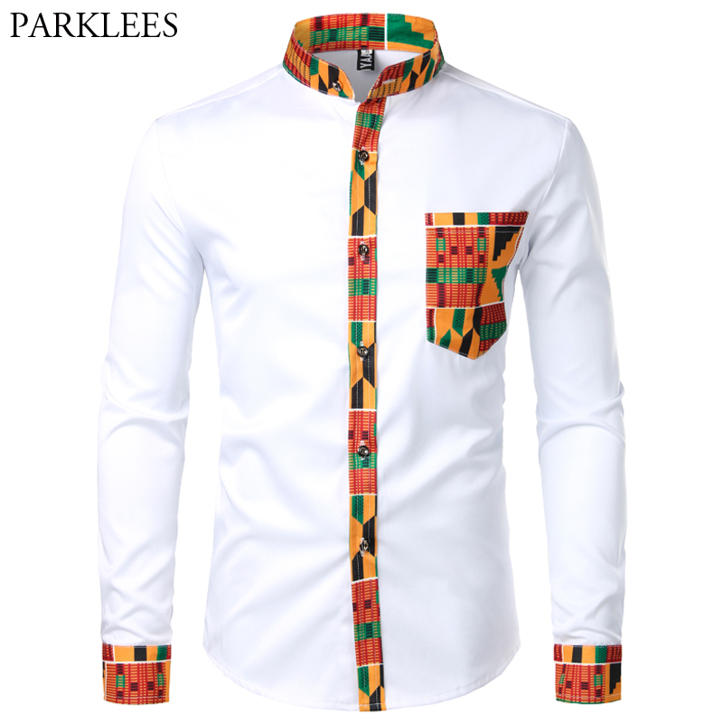 Print Shirt Pocket Dashiki Collar Long-Sleeve Ankara-Style Design African Mens Patchwork