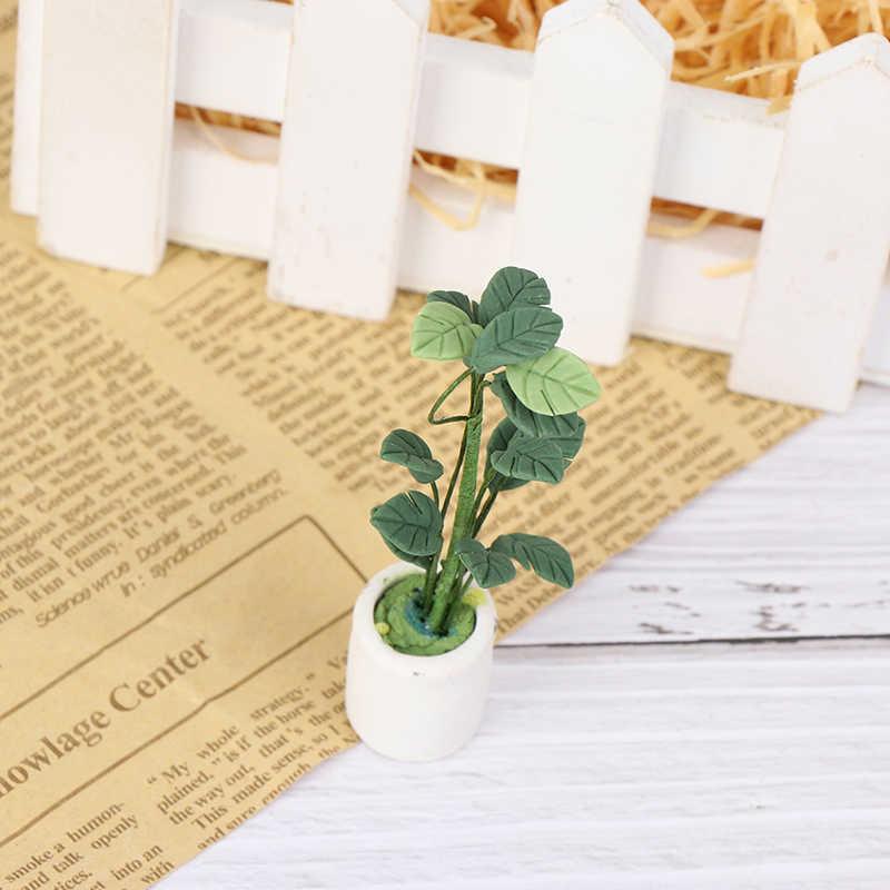 Leuke Groene Miniatuur Accessoires Mini Plastic Boom Ingemaakte Simulatie Potplanten Model Speelgoed Voor 1:12 Poppenhuis Decoratie