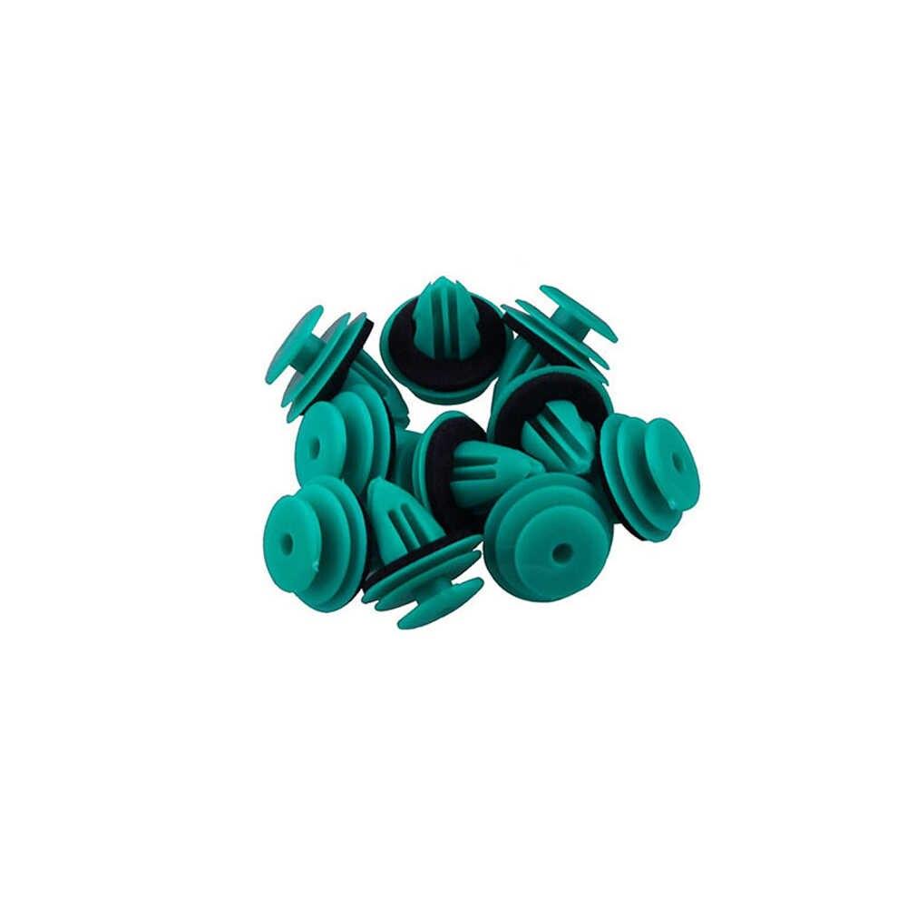 25 adet yüksek kalite yeşil plak naylon tutma klipsi Toyota 90467-10188 için tampon kapı toka araba iç aksesuarları
