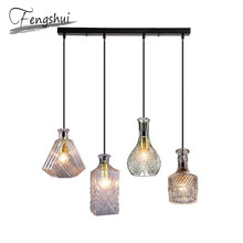 Nordic Glass Bottle Pendant Lights Lamp LED Pendant Lighting Living Room Bar Dining Room Bedroom Loft Art Deco Hanging Lamp nordic led pendant lights for dining room bar bedroom living room kitchen creative art deco hanging pendant lamp retro cafe loft