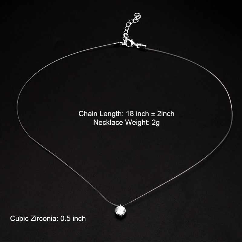 Collar transparente de línea de pesca para Mujer Invisible colgantes con collar de cadena de diamantes de imitación gargantilla collares de silicona de clavícula