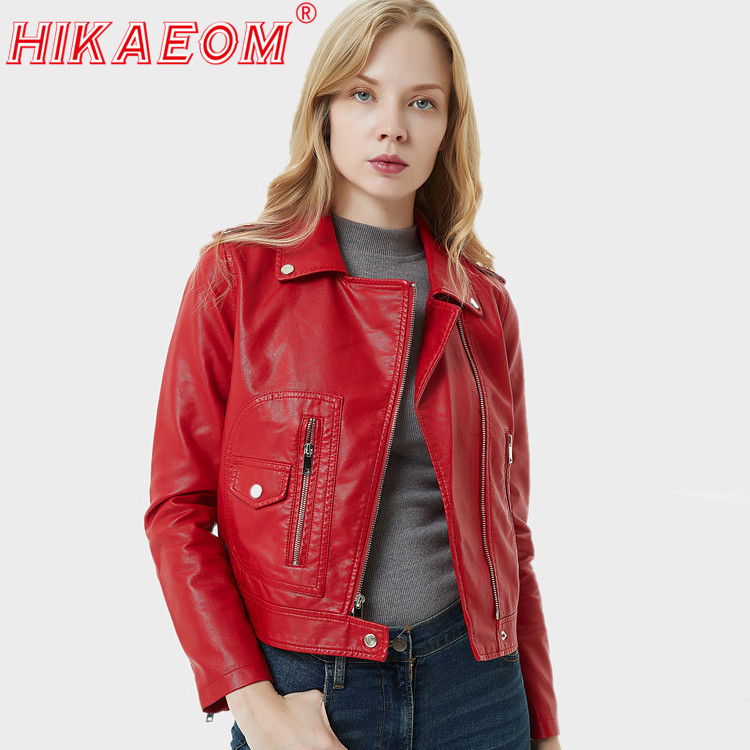 Black Red   Leather   Women Short Jakets 2019 Autumn Motorcycle Jackets Long Sleeve Turn-down Collar Zipper Pockets Wind-break Coats
