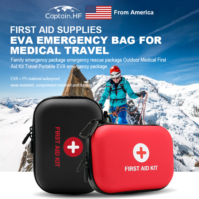 US Captain Estuche para botiquín de primeros auxilios, portátil viaje, medicina, paquete, bolsas de kit de emergencia, pequeño organizador divisor de almacenamiento de medicina