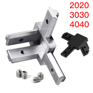 1 Set Black And Silver All Series 3-Way End Corner Bracket Connector with Screws for Standard T Slot Aluminum Extrusion(China)