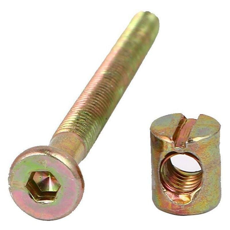 sourcing map M6x100mm Furniture Bolt Nut Set Hex Socket Screw 56.7mm Thread Length with Barrel Nuts Phillips-Slotted 4 Sets