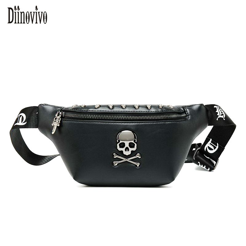 DIINOVIVO Rock Skull Women's Belt Bag Rivet Chest Bag Steamed Waist Bag Female Banana Bag Punk Fanny Pack 2019 Bum Bags WHDV1177