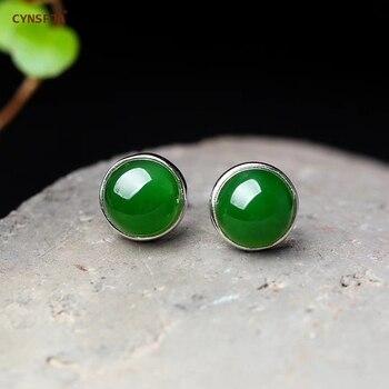 CYNSFJA Real Certified Natural Hetian Jade Jasper 925 Sterling Silver Fine Jewelry Jade Earrings Green High Quality Best Gifts