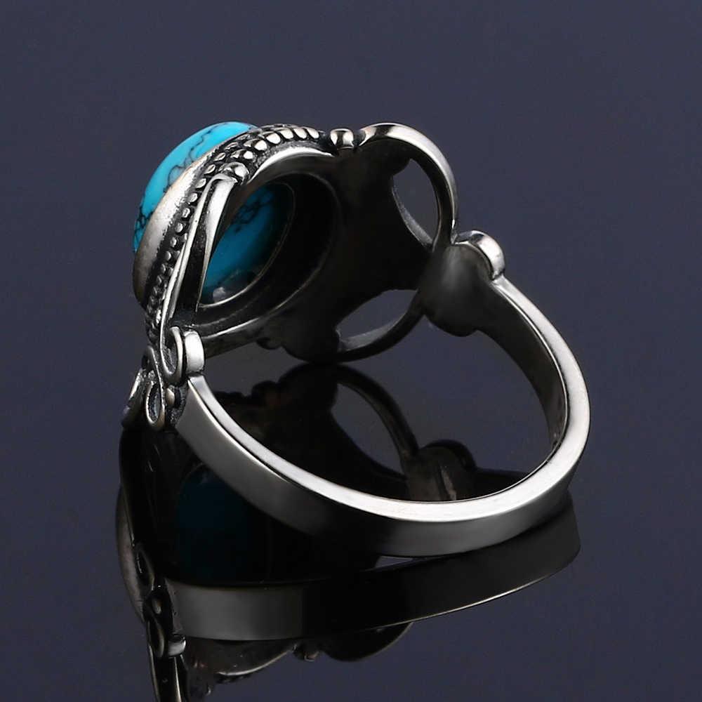 Baru Gaya Bohemia 8X10 Mm Oval Alami Pirus Cincin untuk Wanita 925 Sterling Silver Pernikahan Cincin Perhiasan untuk Hadiah Ulang Tahun