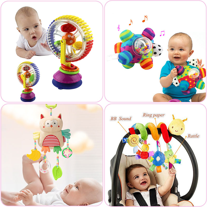 Soft Baby Toys 0-12 Months Music Crib Stroller Hanging Spiral Kids Sensory Educational Toy For Newborn Baby Rattles Bed Bell