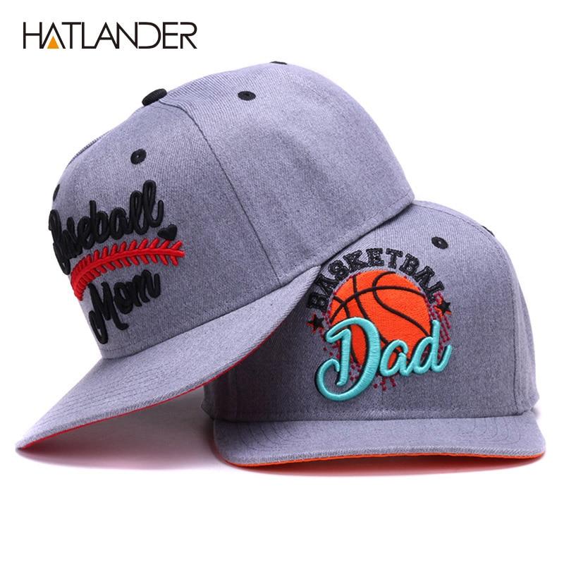 HATLANDER Original semi curved snapback caps MOM baseball cap DAD basketball cap couples grey hip hop cap hat bone sports hats