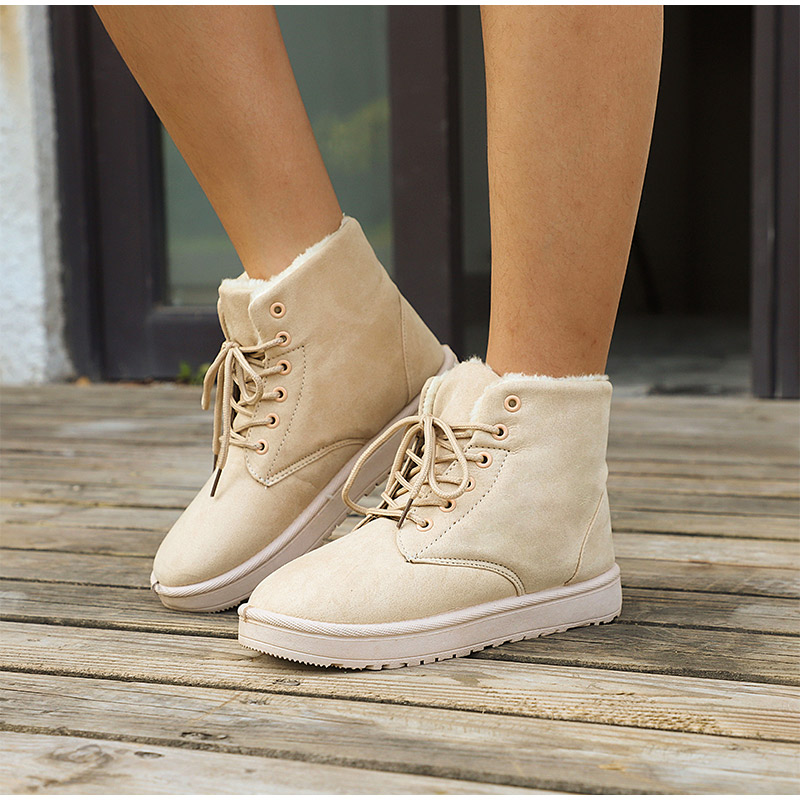 Women Flock Fur Flat Lace Up Winter Snow Suede Ankle Boots Female 33