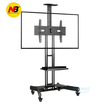 "Super quality NBUS60-SZ 32""-65"" LED LCD TV Cart Flat Panel Plasma TV Trolley Stand With Tray and AV Shelf"