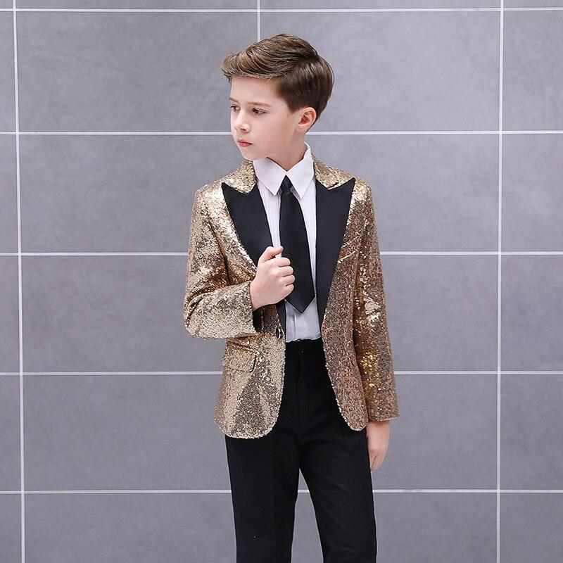 Handsome One Button Sequin Kid Complete Designer Boy Wedding Suit Boys' Attire Custom-made (Jacket+Pants+Tie) 01 2