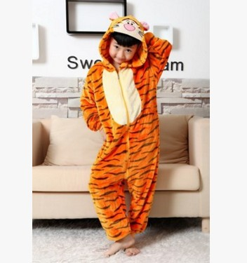 Flannel Children Huang Lao Tiger Zebra Tigger And Other Variety Of Cartoon One-piece Pajama Costume